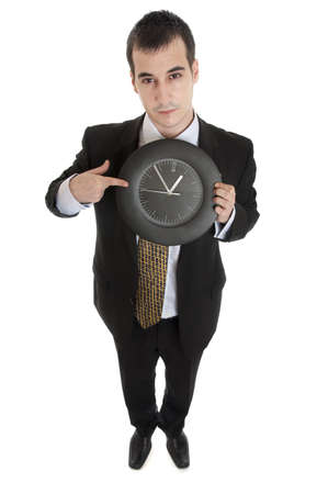 Isolated businesss man with clock photo