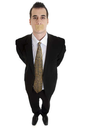 duct tape: Isolated business man with duct tape on mouth Stock Photo