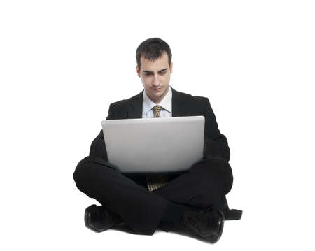 Isolated young business man on white Stock Photo - 9139474