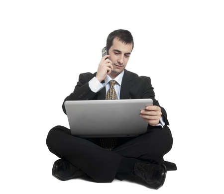 Isolated young business man on white Stock Photo - 9139434