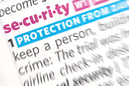 Security word close up in dictionary photo