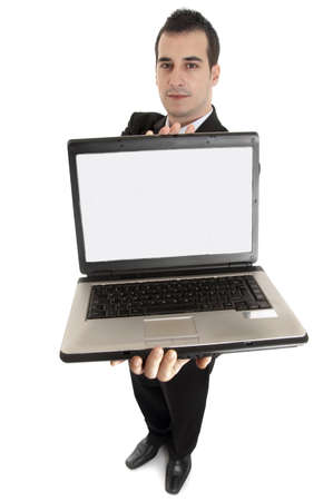 guy with laptop: Isolated business man with laptop