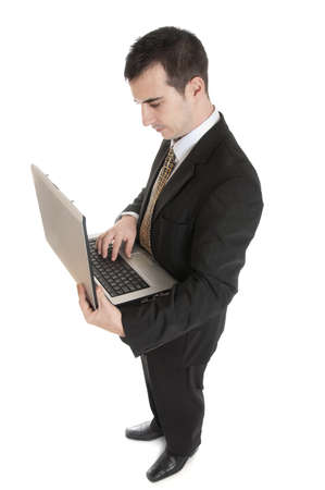 Isolated thoughtful business man with laptop photo