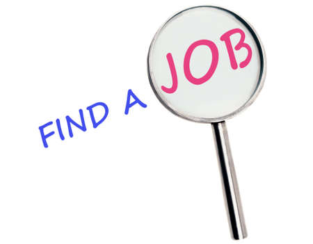 find a job: Find a job text magnified Stock Photo