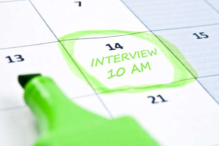 am: Calendar mark  with interview at 10 AM