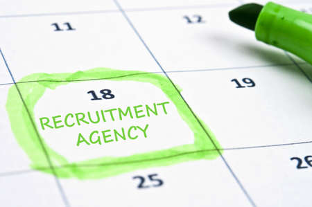 jobless: Calendar mark with recruitment agency