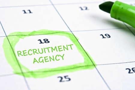 employment agency: Calendar mark with recruitment agency