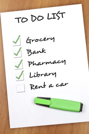To do list with Rent a car not checked Stock Photo - 9140784