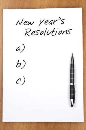 resolutions: Empty new year resolutions and a pen