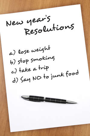 resolutions: New year resolution Say no to junk food as most important Stock Photo