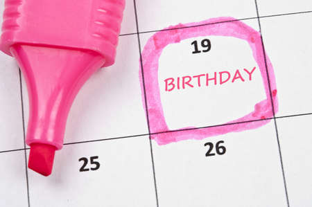 Calendar mark with Birthday Stock Photo - 9153854