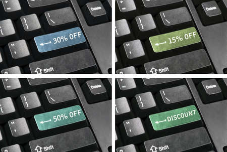 Collage of discount keys in place of enter key Stock Photo - 9153860