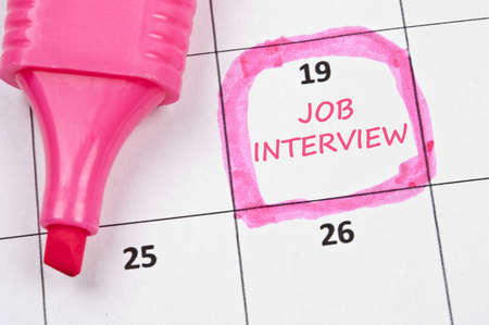 marked: Calendar mark  with Job interview