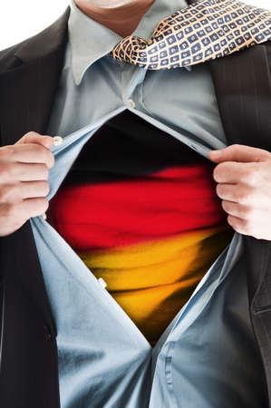 Business man showing  flag shirt Stock Photo - 9154111