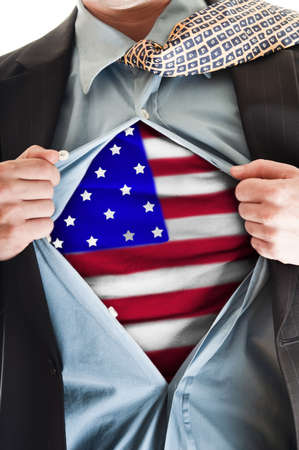 patriotic america: Business man showing  flag shirt