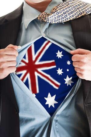 Business man showing Australia flag shirt photo