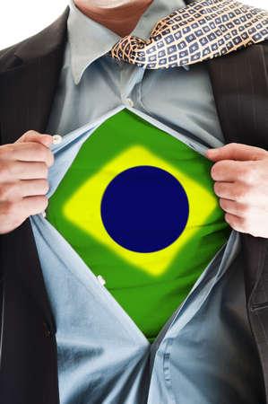 Business man showing Brasil flag shirt Stock Photo - 9167648