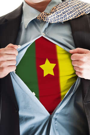 cameroonian: Business man showing Cameroon flag shirt