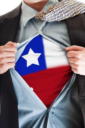 chilean flag: Hombre de negocios, mostrando la camiseta de bandera de Chile