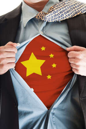 Business man showing China flag shirt Stock Photo - 9167646