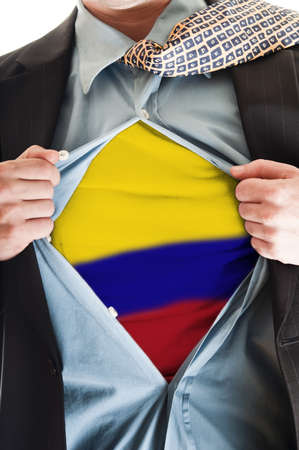 Business man showing  Colombia flag shirt photo