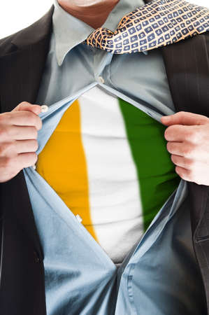 Business man showing Ivory Coast flag shirt Stock Photo - 9167680