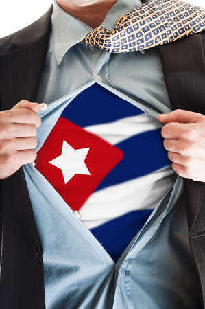 Business man showing Cuba flag shirt photo