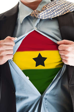 Business man showing  Ghana flag shirt Stock Photo - 9167643