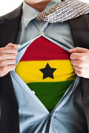 Business man showing  Ghana flag shirt Stock Photo - 9167643