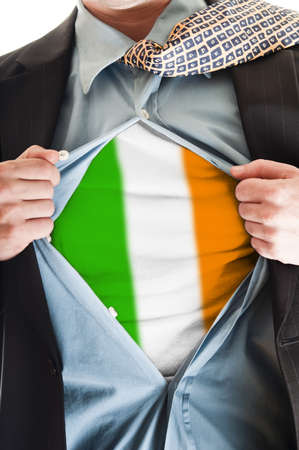 Business man showing Ireland  flag shirt Stock Photo - 9167684