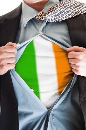 Business man showing Ireland  flag shirt Stock Photo - 9167684