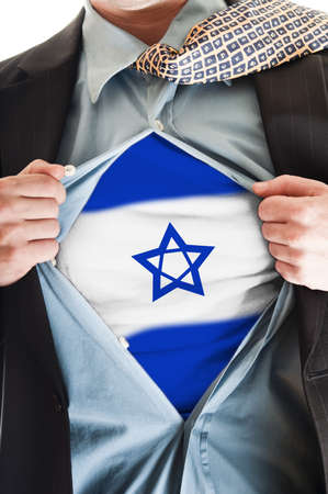 jewish community: Business man showing Israel flag shirt