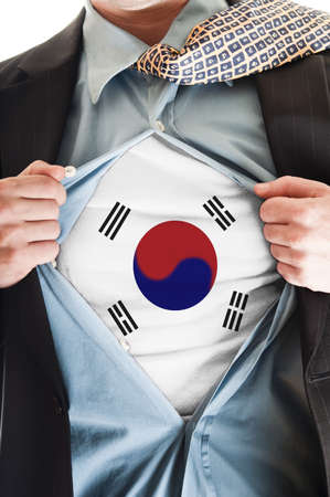 Business man showing South Korea  flag shirt photo
