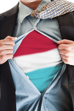 Business man showing luxembourg  flag shirt Stock Photo - 9167670