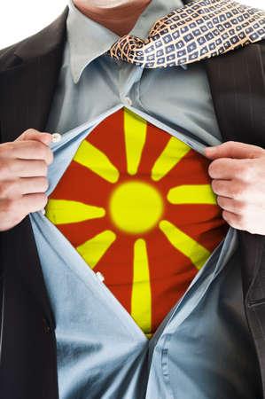Business man showing Macedonia flag shirt Stock Photo - 9167673