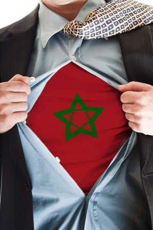 Business man showing Morocco flag shirt Stock Photo - 9167624