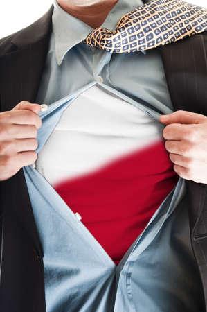 Business man showing Poland flag shirt Stock Photo - 9167655
