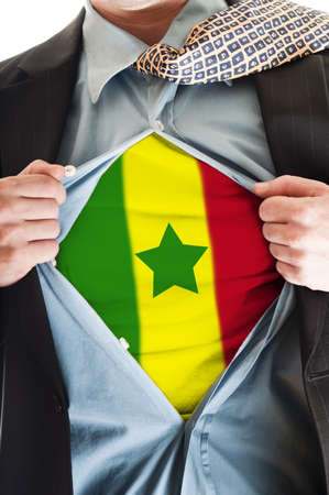 Business man showing Senegal flag shirt Stock Photo - 9167667