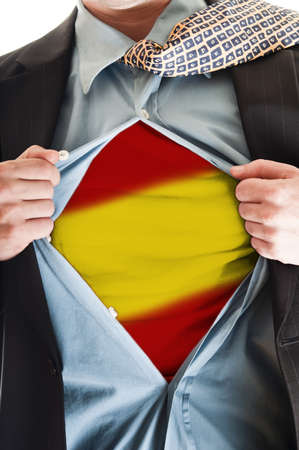 Business man showing Spain flag shirt photo