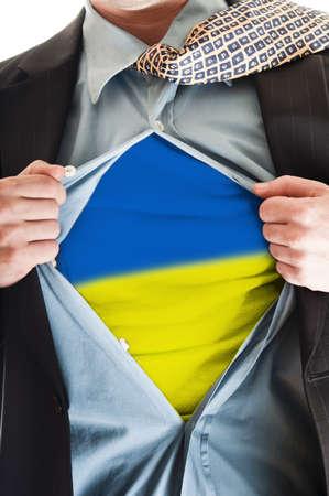 Business man showing Ukraine flag shirt Stock Photo - 9167659
