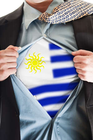 Business man showing Uruguay flag shirt Stock Photo - 9167686