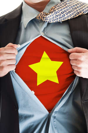 Business man showing Vietnam flag shirt Stock Photo - 9167653