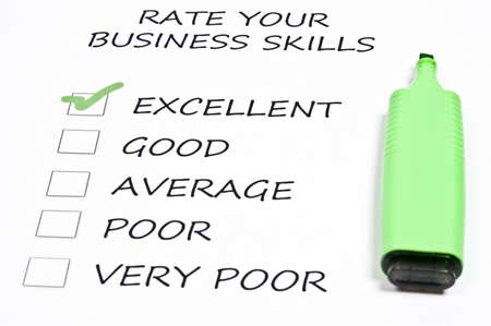 Excellent business skills rating and marker pen Stock Photo - 9198828