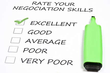 marker pen: Excellent negociation skills rating and marker pen