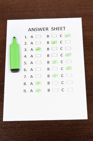 Answer sheet and green marker photo
