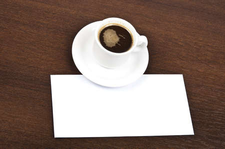 Coffee with blank note on desk Stock Photo - 9199751