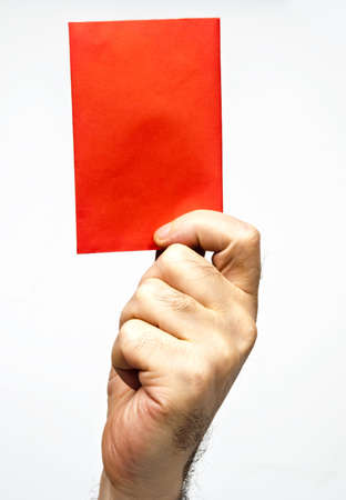 reprimand: Male hand showing red card