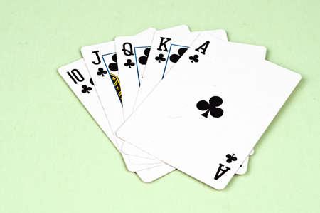 straight flush: Straight flush in card game Stock Photo