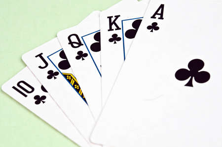 straight flush: Straight flush made in in card game Stock Photo