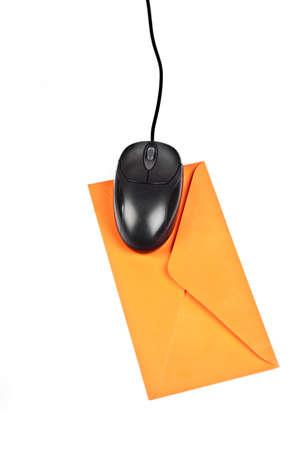 Isolated mouse on orange envelope Stock Photo - 9211822